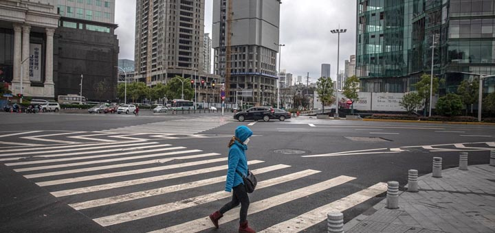 Near-deserted streets in Wuhan during the lockdown, which was lifted this week after 76 days. Photograph: Roman Pilipey/EPA
