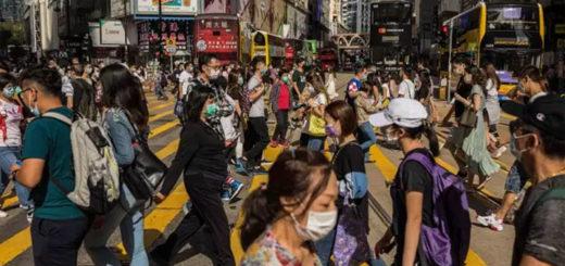 Dans le quartier commerçant de Causeway Bay à Hongkong, le 1er mai. © DALE DE LA REY / AFP