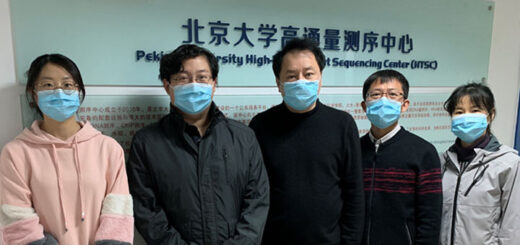 Sunney Xie (in the middle) and some members of his team. © Université de Pékin.