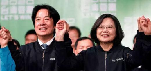 La présidente taïwanaise Tsai Ing-wen (à droite), avec le vice-président William Lai, après sa réélection, le 11 janvier. © Tyrone Siu / REUTERS