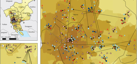 Figure 1Spatial distribution of COVID-19 case clusters on the basis of contact tracing data from Guangzhou, China, from Jan 7, 2020, to Feb 18, 2020 @ DR / The Lancet / Elsevier Ltd