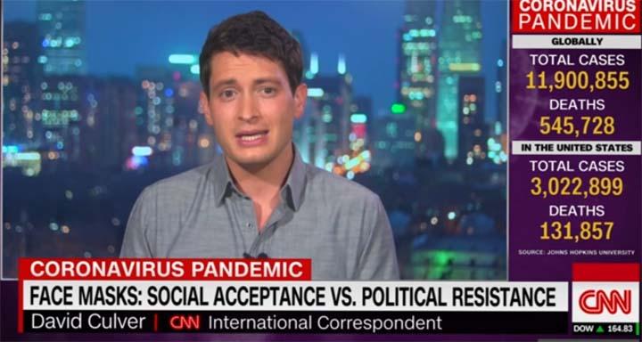 """capture d'écran du reportage """"Beijing-based reporter surprised by US stance on masks"""". © CNN / David Culver"""