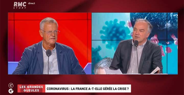 """copie d'écran d'émission Les grandes Gueules """"La Chine est moins perdante"""": pour Pascal Boniface, le Coronavirus peut signer la fin de la domination occidentale. © BFMTV / RMC"""