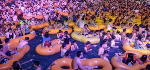 Une fête était organisée dans un parc aquatique à Wuhan, berceau de la pandémie de coronavirus. © STR / AFP