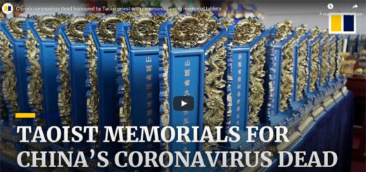 """capture d'écran du reportage """"China's coronavirus dead honoured by Taoist priest with ceremonies using memorial tablets"""" © South China Morning Post"""