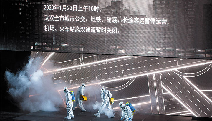 Actors from the People's Art Theater of Wuhan performing in a drama about medical staff fighting Covid-19 in Wuhan, September 2020 © Xinhua/Xiao Yijiu/Getty Images