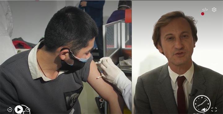 Capture d'écran du reportage « Chine : lancement d'une deuxième campagne de vaccination ». © France Télévision