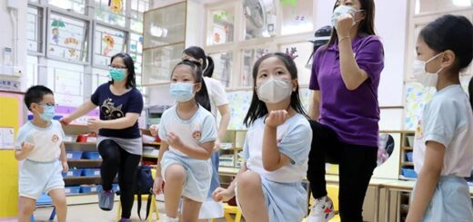 Children exercise at Hong Kong Chinese Women's Club Kindergarten in Shau Kei Wan on their first day back in school on June 15. © Nora Tam