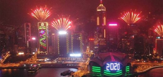 Last year's diminished New Year's Eve fireworks display. © Martin Chan