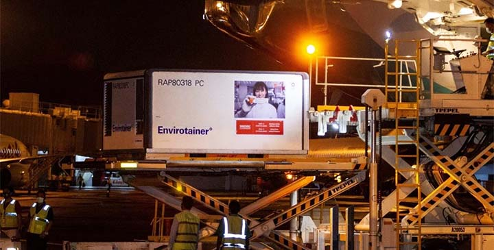 A container with Covid-19 vaccines from China's Sinovac arrives at Soekarno-Hatta International Airport in Tangerang, near Jakarta, on December 6. © Reuters