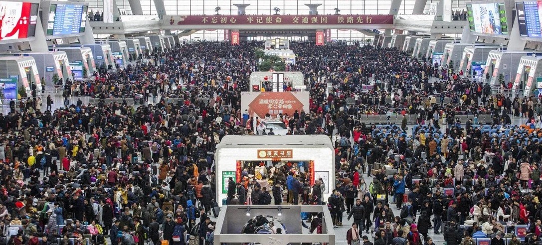 Lunar New Year involves one of the biggest annual movements of people, with transport authorities expecting over 400 million train journeys to be made. © DPA