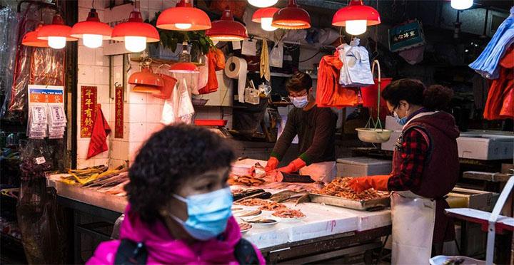 Le rapport n'apporte aucune conclusion quant à la responsabilité du marché aux poissons de Wuhan dans l'origine de l'épidémie. © AFP/DALE DE LA REY