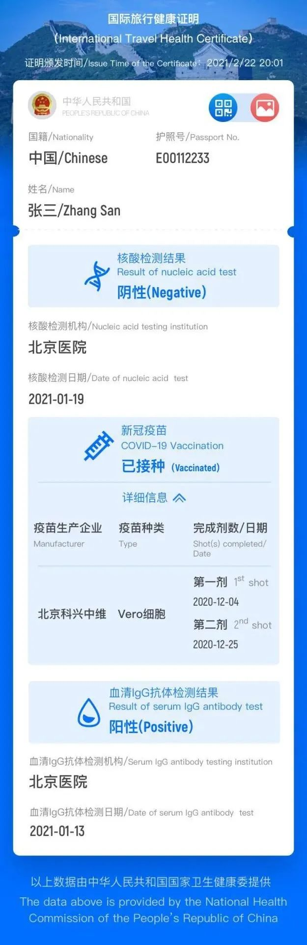 A sample image of a digital health certificate for international travelers on the WeChat mini program. [Photo/Foreign Ministry's Department of Consular Affairs]