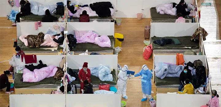 Dans un hôpital temporaire à Wuhan, le 18 février 2020. © STR/AFP
