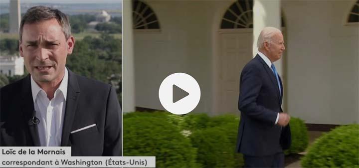 """Capture d'écran du reportage """"Origine du Covid-19 : Biden demande des comptes à la Chine"""" © France Info"""