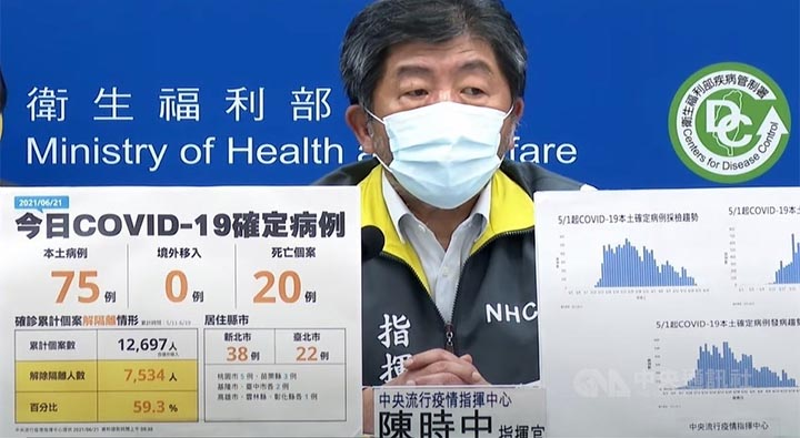 Health Minister Chen Shih-chung hosts Monday's COVID-19 press briefing. © CNA